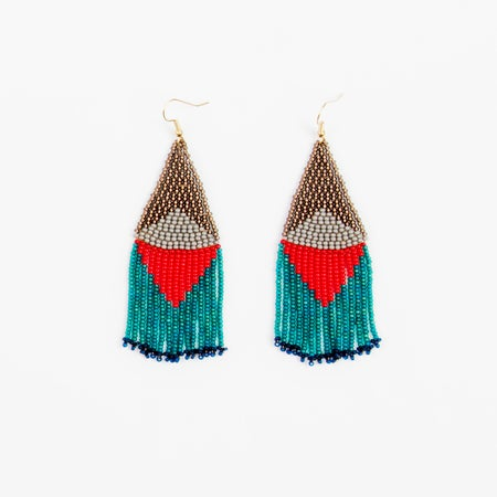 Image of Graphic Fringe Earrings - Red/Teal Mix
