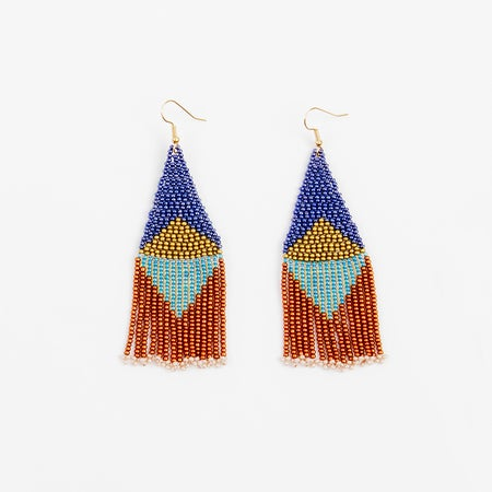 Image of Graphic Fringe Earrings - Multi-Bronze