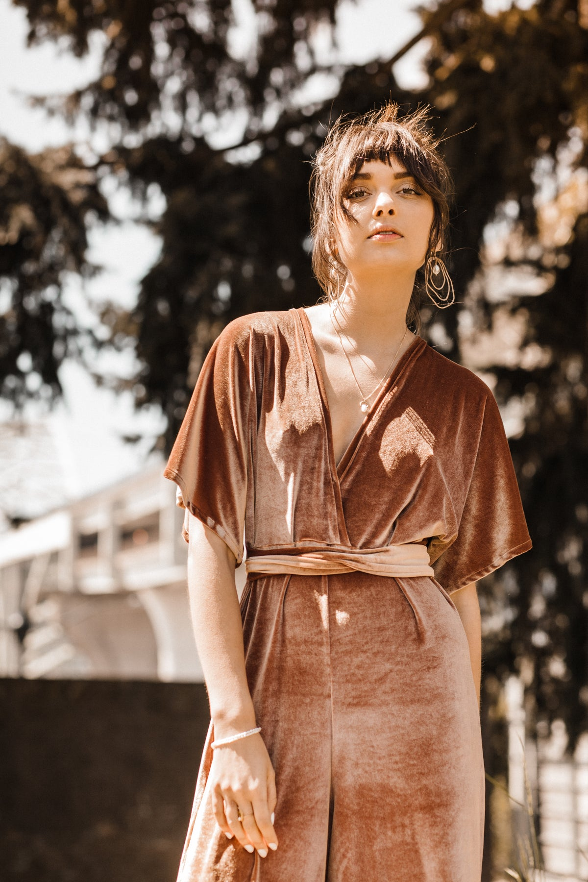 Image of Copper velvet jumpsuit