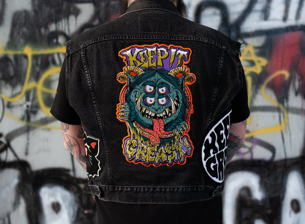 Image of KEEP IT GREASY Lowbrow Backpatch