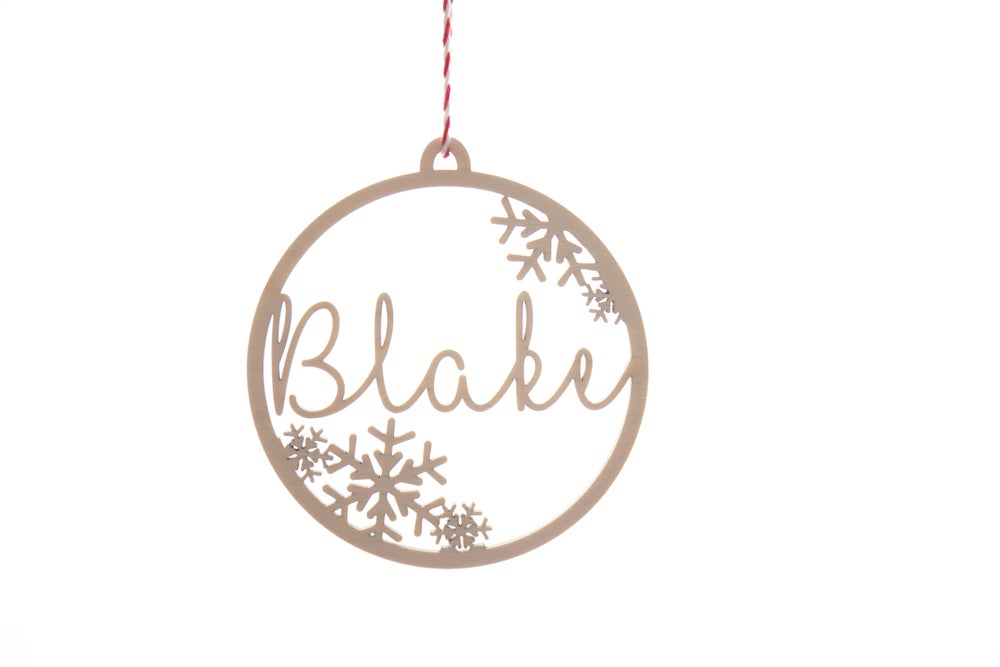 Image of Snow Flake Personalised Christmas Baubles