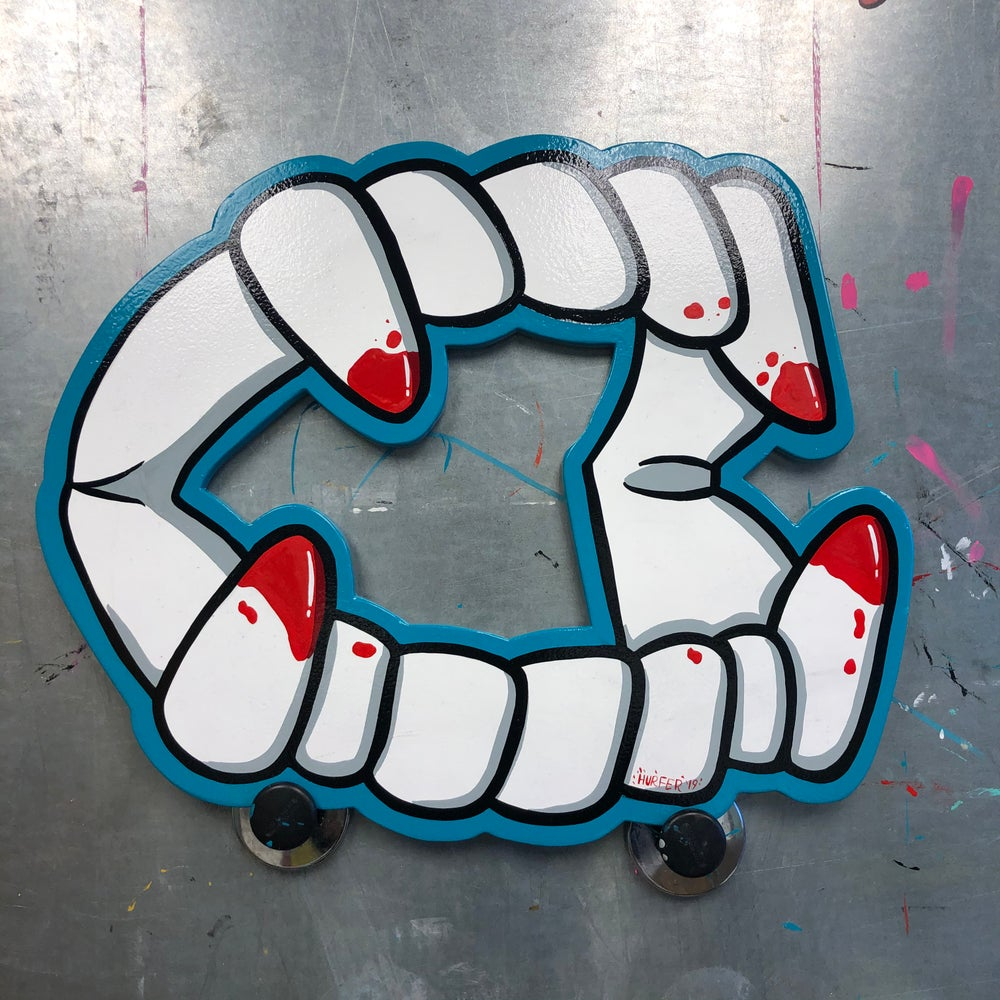 Vampire teeth. Hand Painted wood cut out sign.