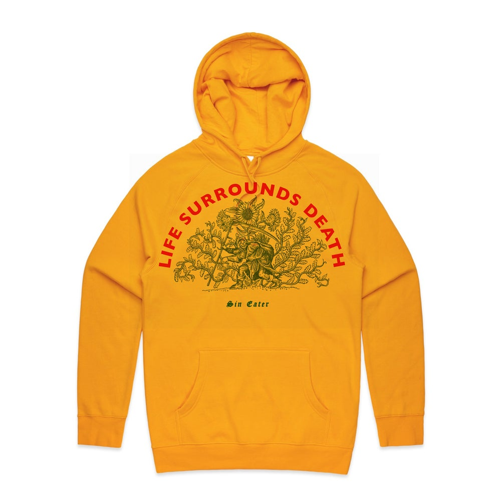 Image of Hoodie life surrounds death (honey yellow)