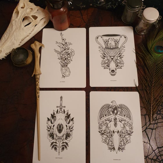 Image of Houses of Hogwarts x4 A5 prints