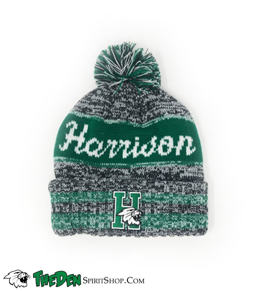 Image of Harrison Wildcats, Cuffed Beanie, Green