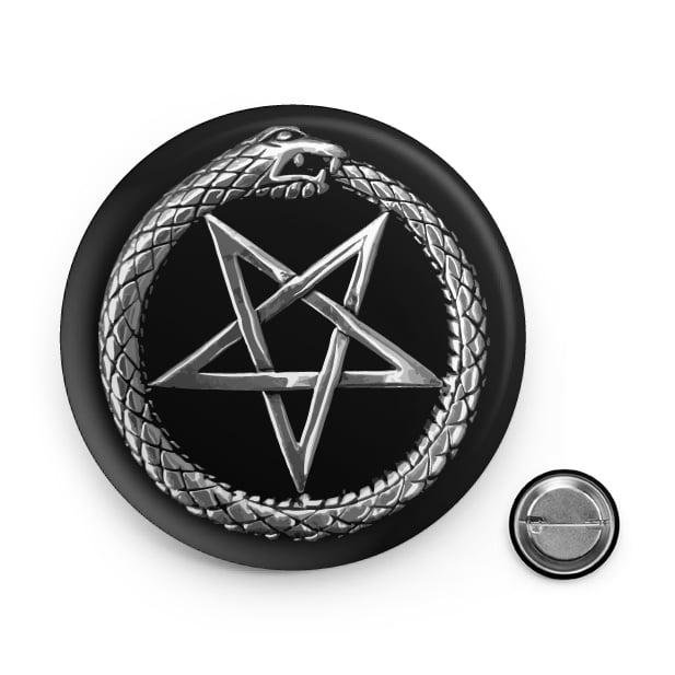 Ouroboros Pentagram Button Pin