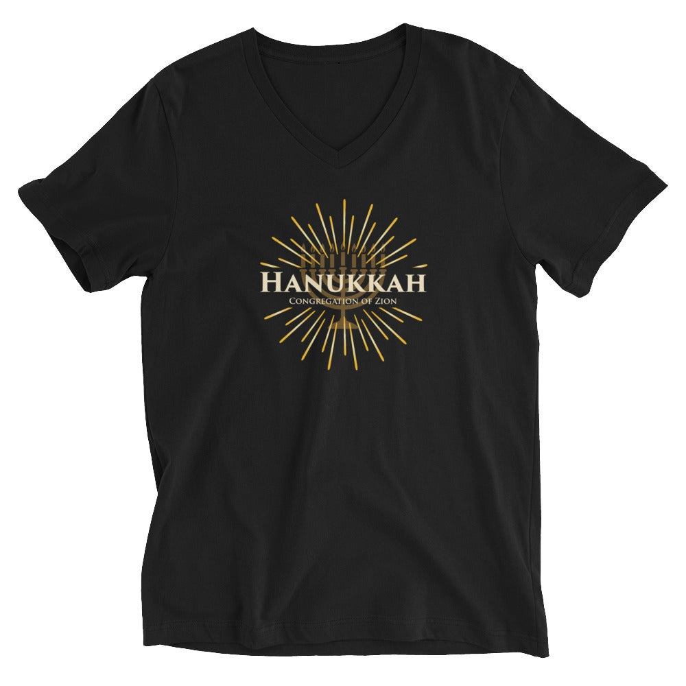 Image of Adult Hanukkah V-Neck Tee (Black Only), XS-2XL