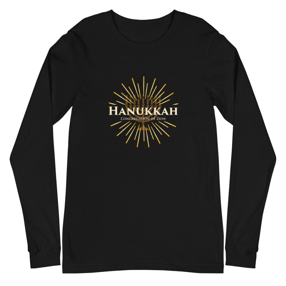 Image of Adult Hanukkah Long Sleeve Tee (Black Only)
