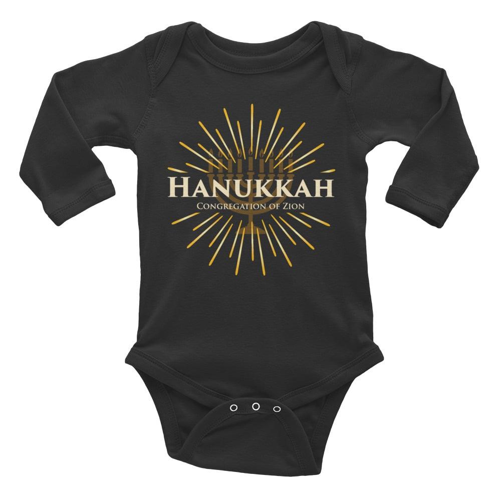 Image of Baby Long Sleeve Hanukkah Tee (Black Only)