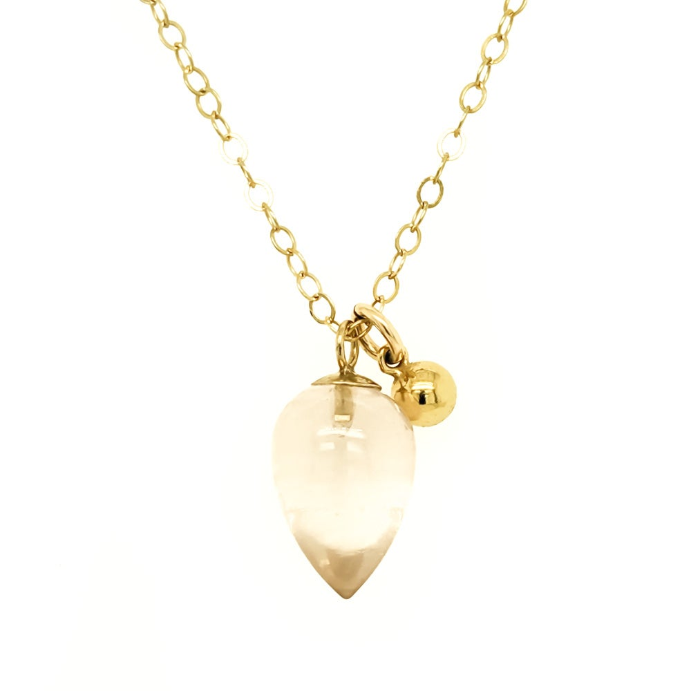 Image of Rose Quartz Acorn Necklace