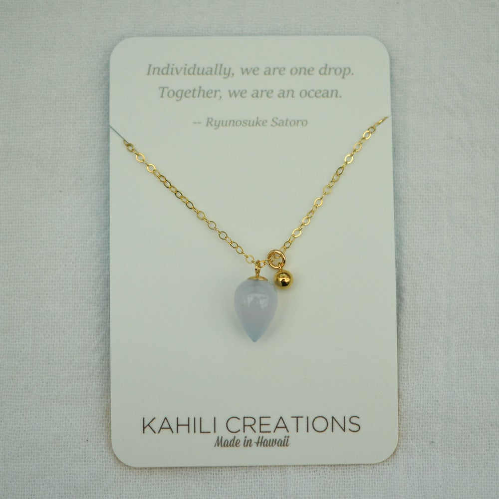 Image of Periwinkle Chalcedony Acorn Necklace