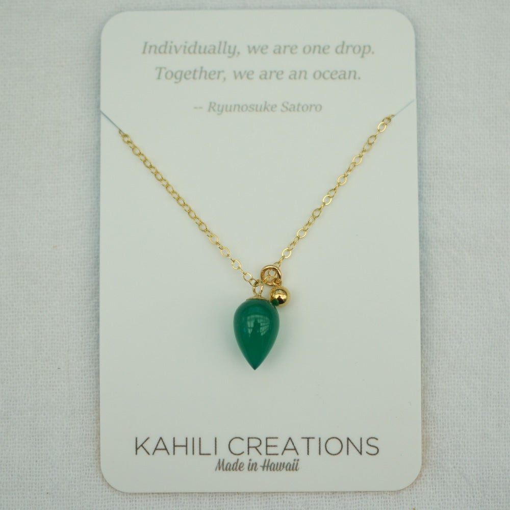 Image of Green Onyx Chalcedony Acorn Necklace