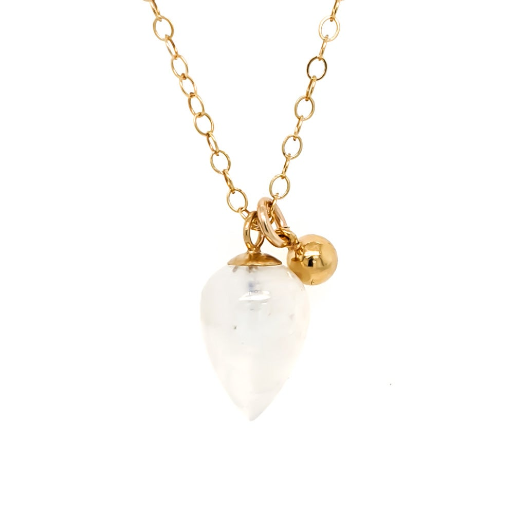 Image of Rainbow Moonstone Acorn Necklace
