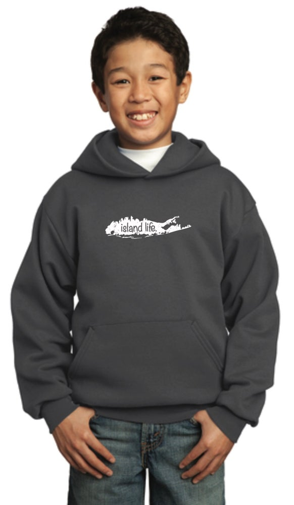 Image of Island Life Youth Hoody - Charcoal
