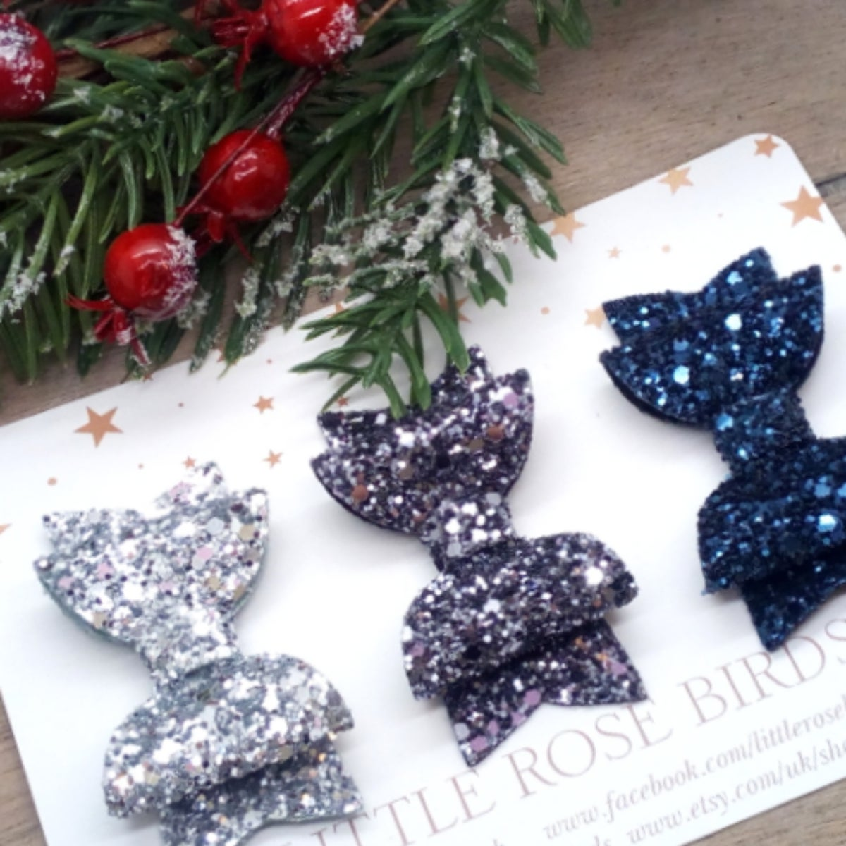 Image of SET OF 3 Glitter Bows