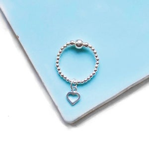 Image of Sterling Silver Open Heart Charm Ring