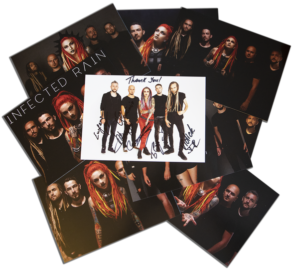 Image of 10 pictures signed by the whole band