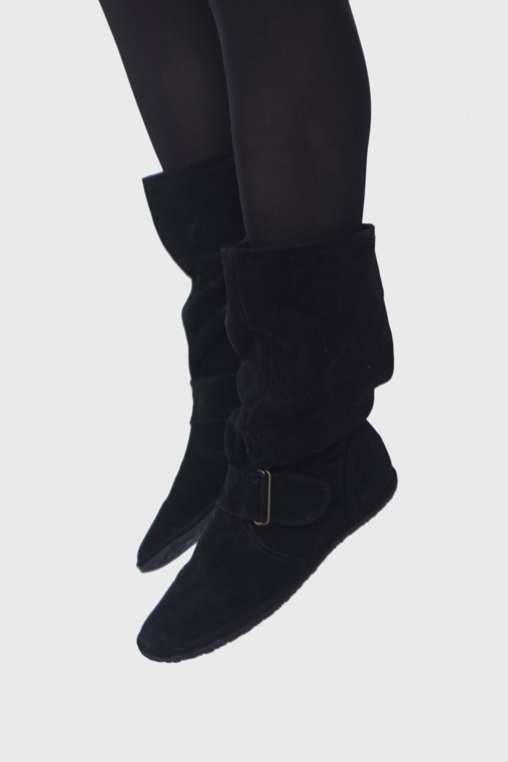 Image of Slouchy Boots in Black suede
