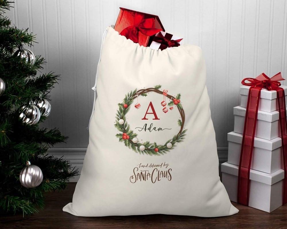 Image of Monogram Wreath Santa Sack