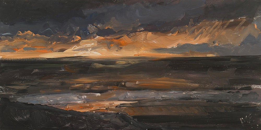 "Image of Welsh Sunset (West Coast) Limited Edition Giclée Print - 17"" x 9.5"""