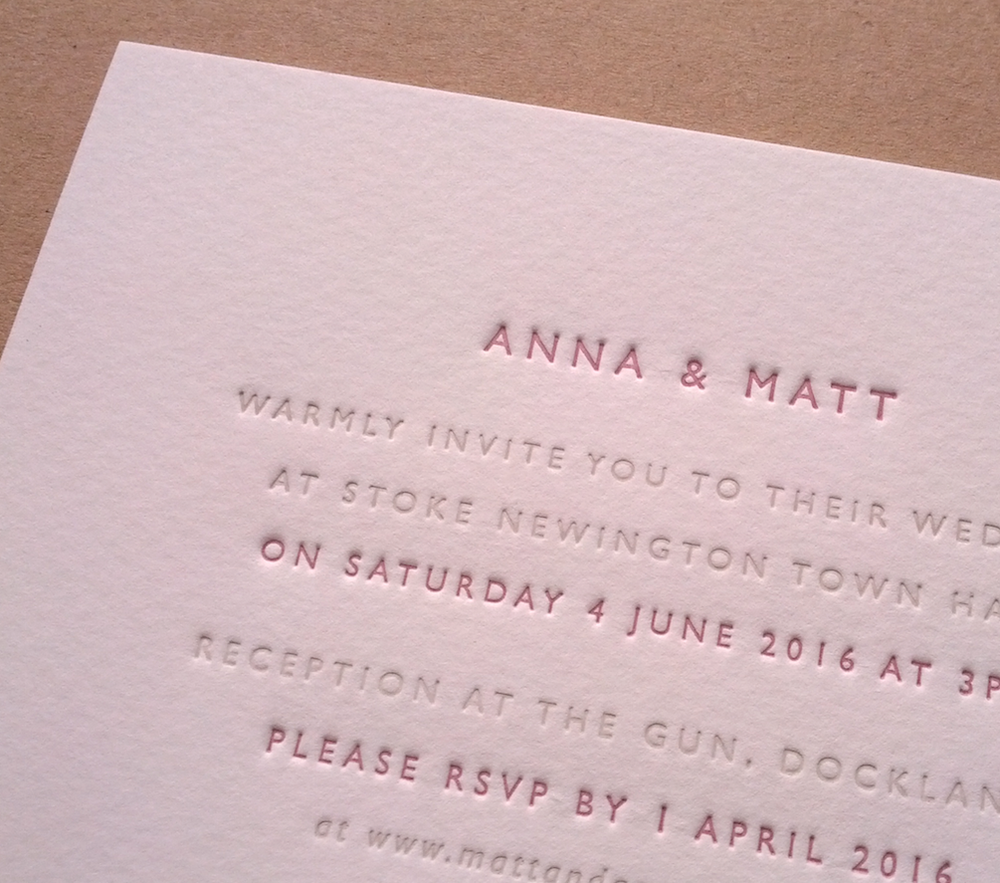 Image of AMY V - Classic letterpress invitations + RSVPs