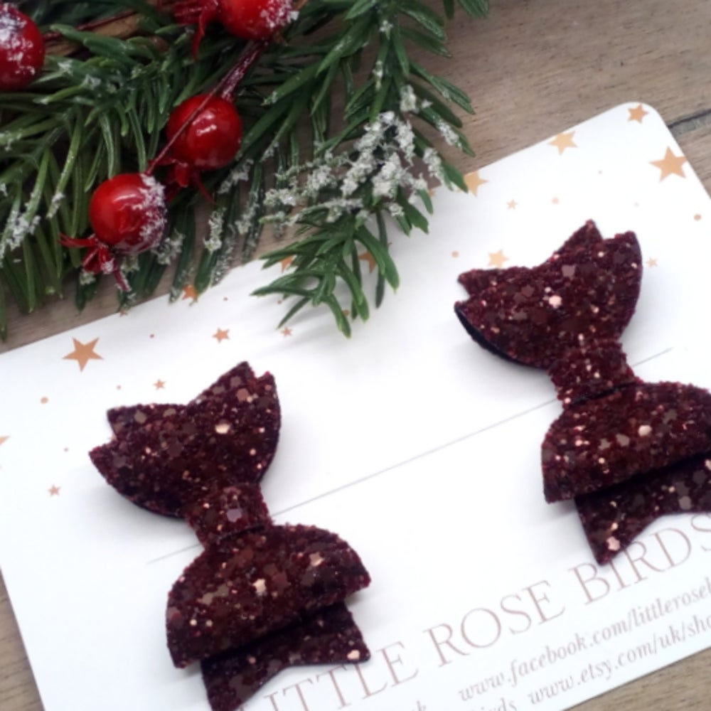 Image of Burgundy Glitter Pigtail Bows
