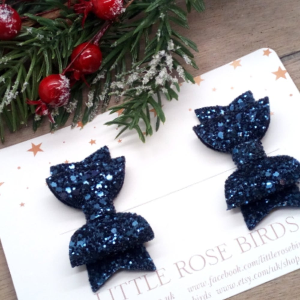 Image of Navy Blue Glitter Pigtail Bows