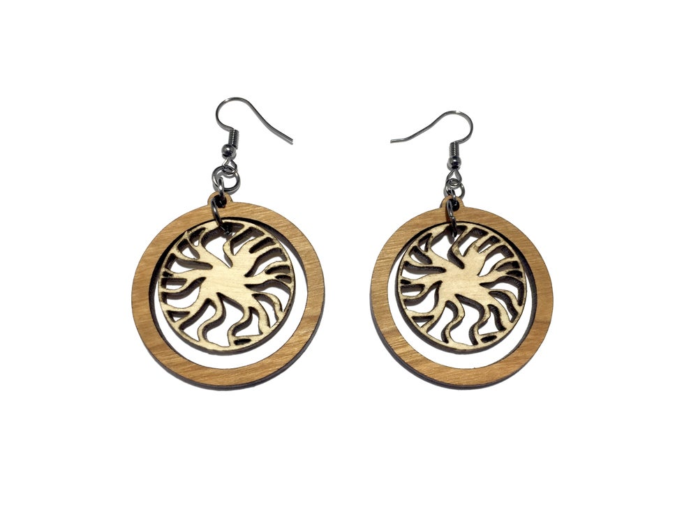 Image of DUAL MANDALA WOODEN EARRINGS