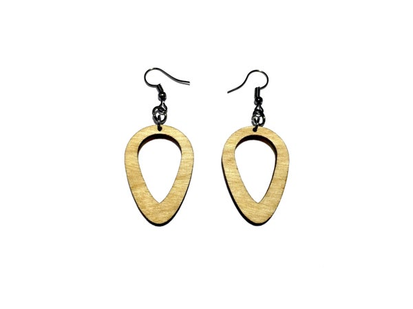 Image of RAIN DROP WOODEN EARRINGS