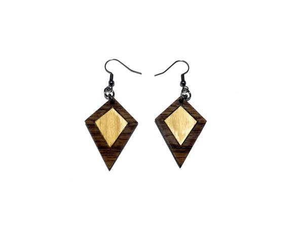 Image of DUAL KITE WOODEN EARRINGS