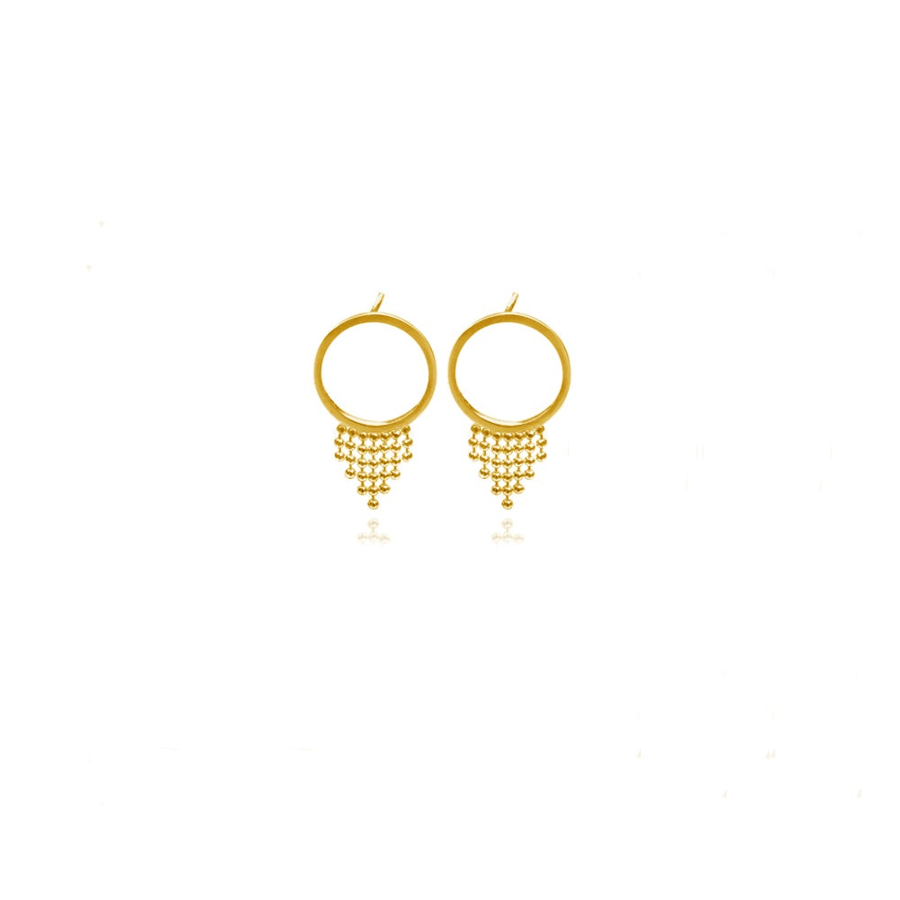 Image of Gold Halo studs with short fringe