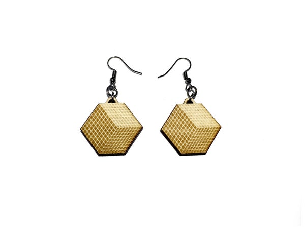 Image of GEOCUBIC WOODEN EARRINGS