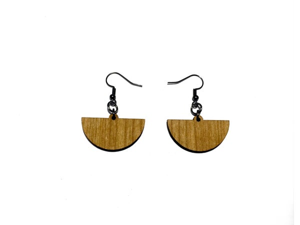 Image of HALF CIRCLE WOODEN EARRINGS