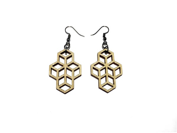 Image of HEXA WOODEN EARRINGS