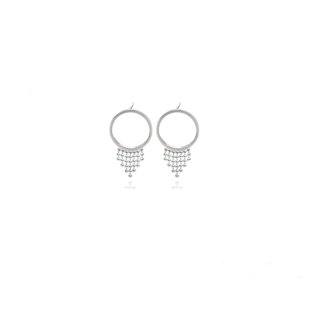 Image of Silver Halo studs with short fringe