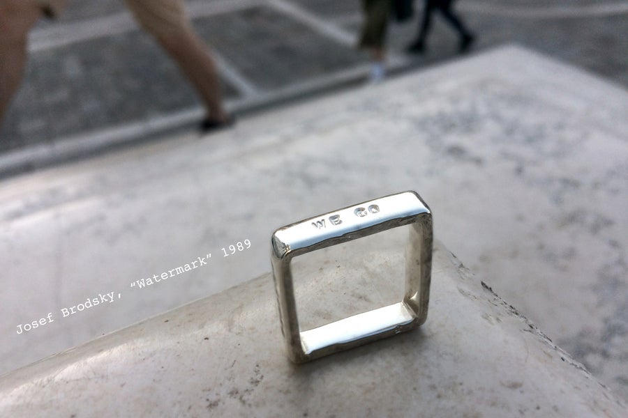 Image of Venice collection · silver square ring with inscription · BECAUSE WE GO AND BEAUTY STAYS ·