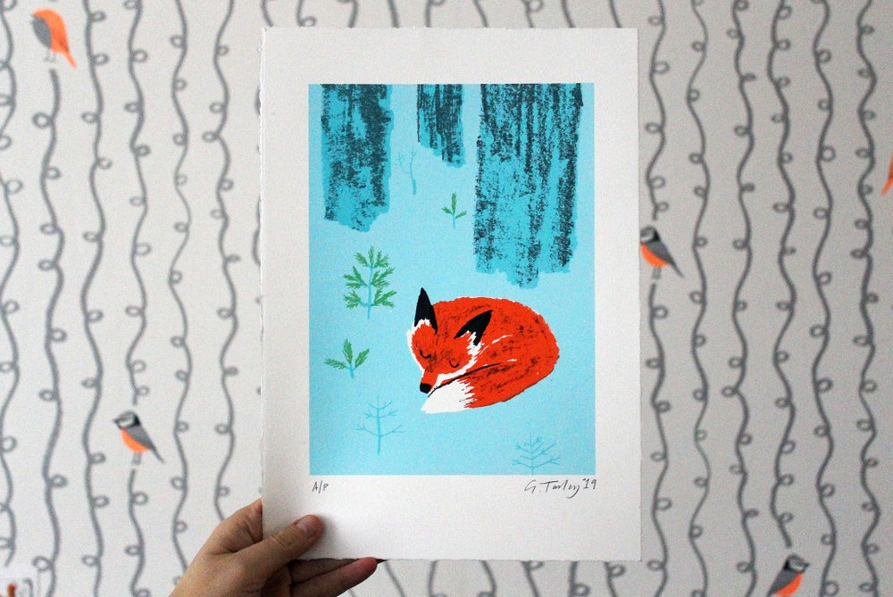 Image of Snoozing Fox - screen print