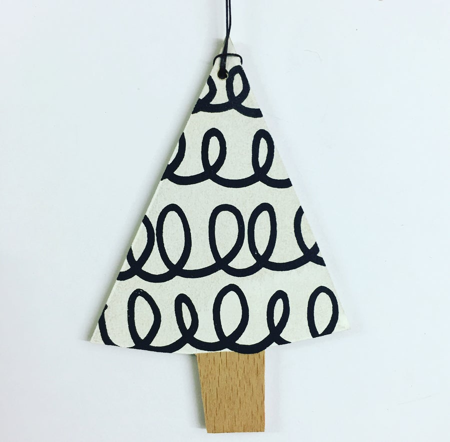 Image of Handmade Xmas Tree Wooden Decoration Screen Printed