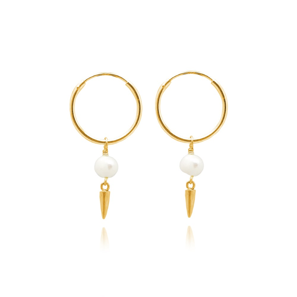 Image of Gold pearl and spike hoops