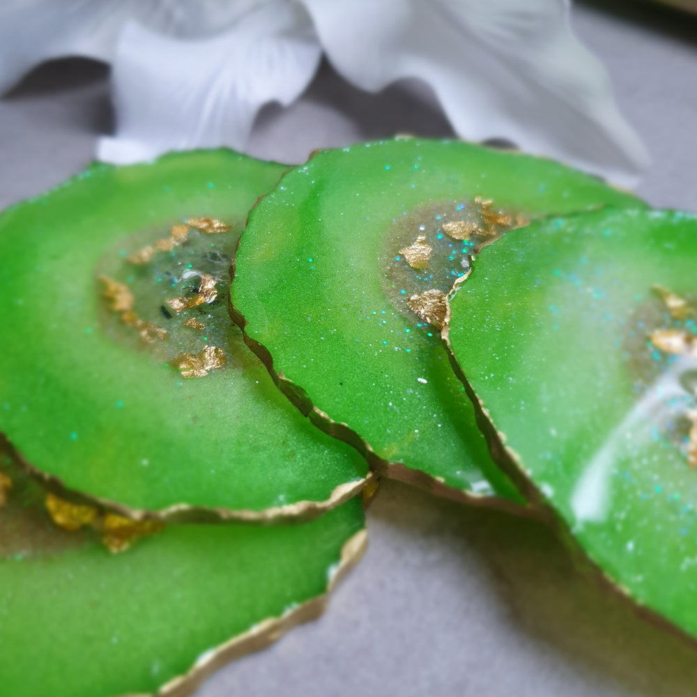 Image of Coasters - Green and gold