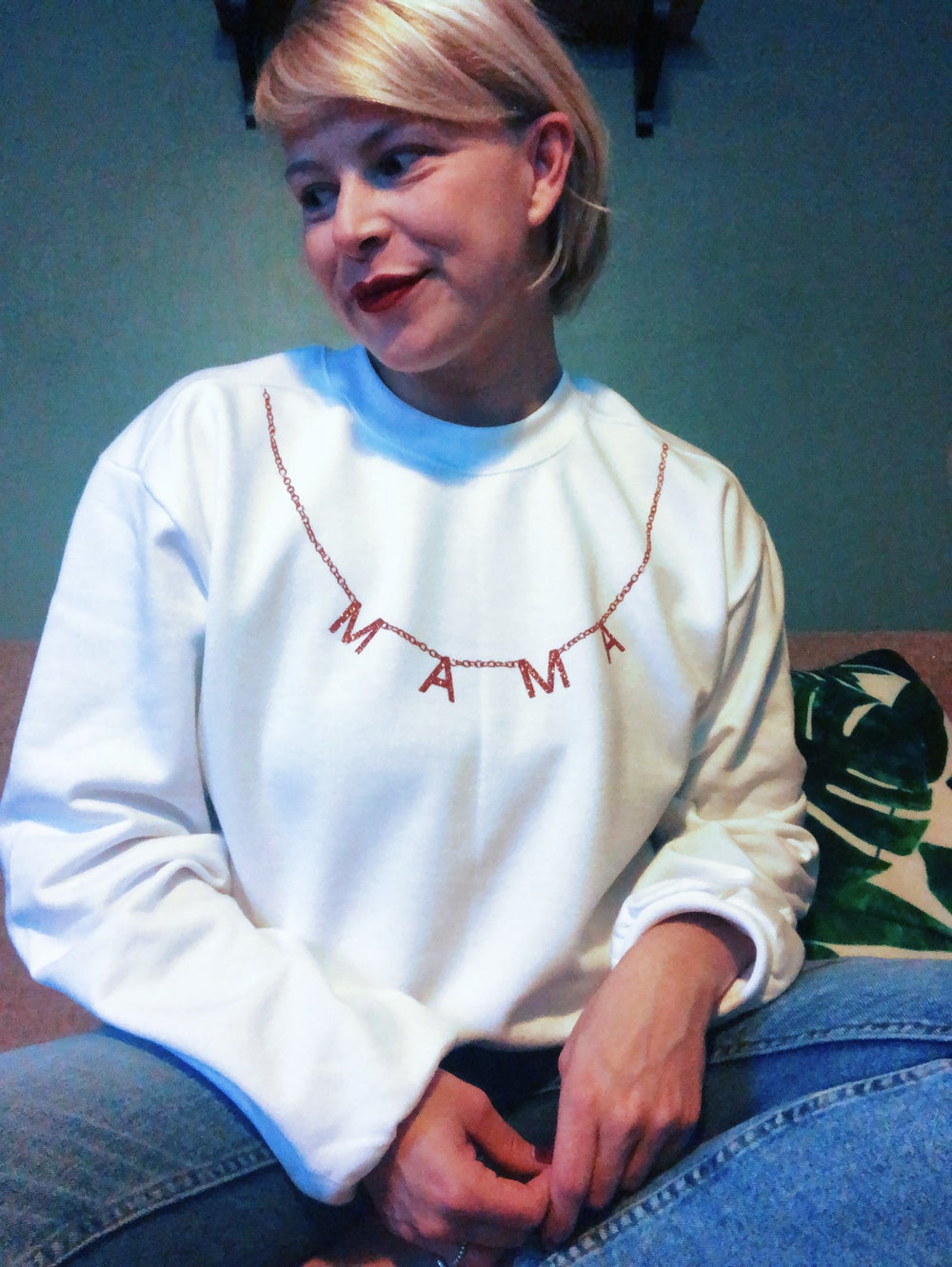 Image of Mama necklace detail sweater