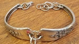 Image of Vintage Flatware Bracelet-Crystals-#240