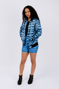 Image of Blue Abstract Print Duchess Satin Unisex Bomber Jacket