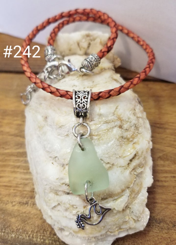 Image of Sea Glass-Leather-Dove-Necklace-#242
