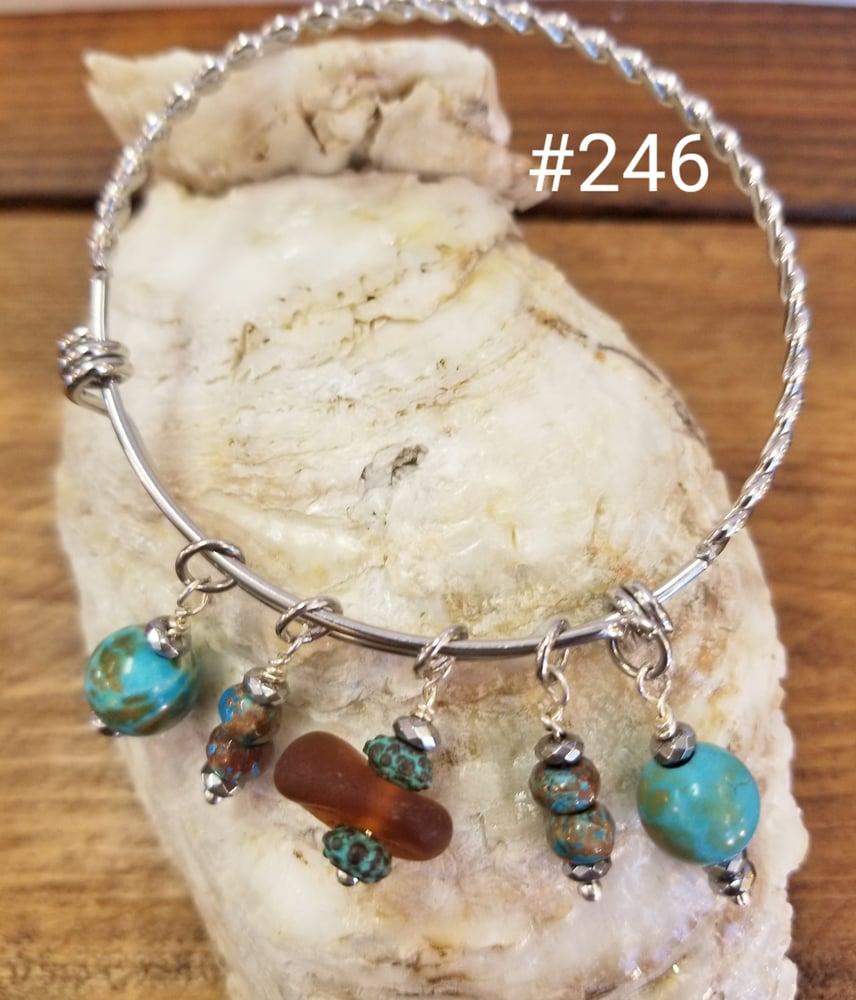 Image of Sea Glass-Chrysocolla-Greek Beads-Bangle-#246