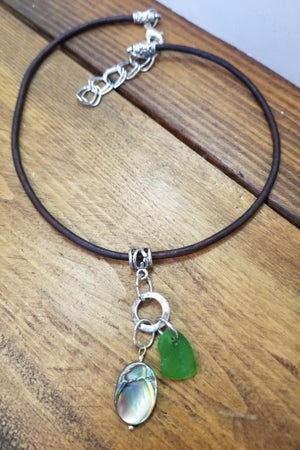 Image of Sea Glass-Abalone-Leather-Necklace-#244