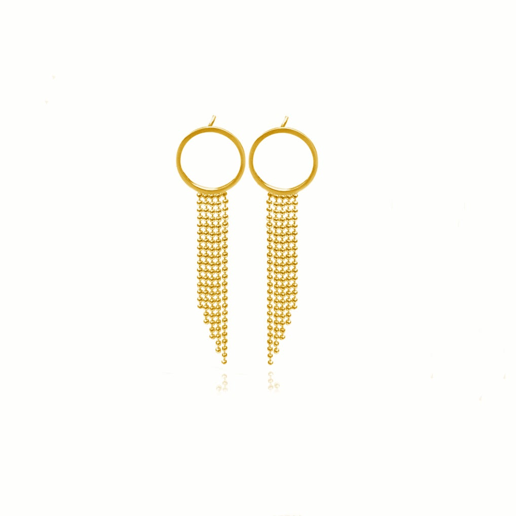 Image of Gold Halo studs with long fringe