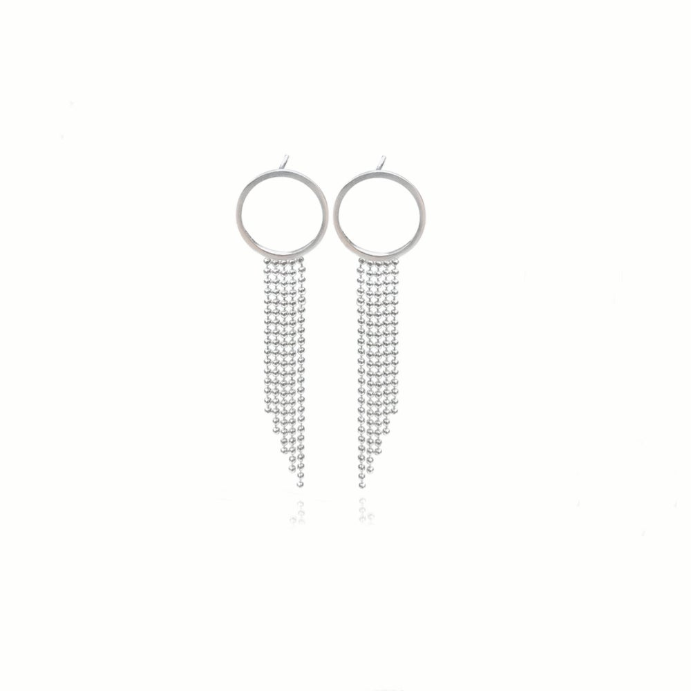 Image of Silver Halo studs with long fringe
