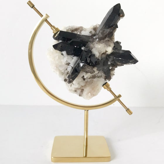 Image of Smoky Quartz/Adularia no.21 + Brass Arc Stand