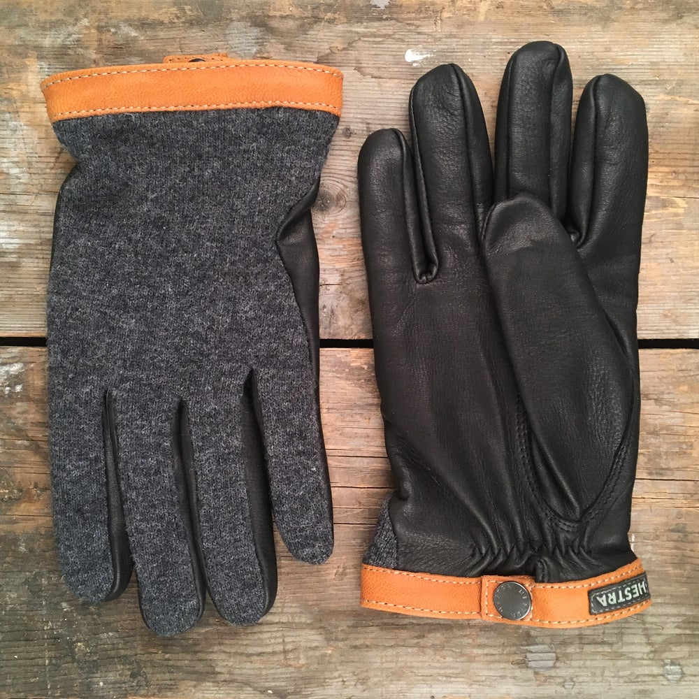 Image of HESTRA DEERSKIN WOOL TRICOT GLOVES